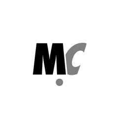 Mc m c black white grey alphabet letter logo icon vector