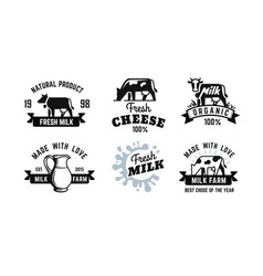 milk emblem black set for farm products vector image