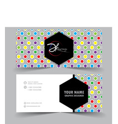modern business card with hexagon background vector image