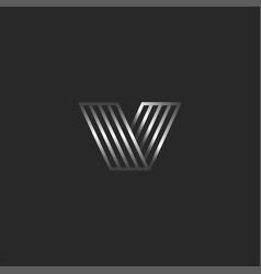 monogram v 3d logo letter creative monogram vector image