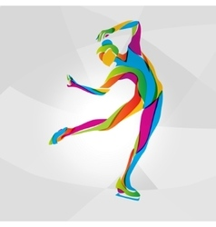 Multicolor silhouette of ice skating girl vector image