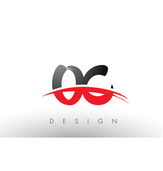 Oc o c brush logo letters with red and black vector