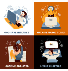 Office work concept icons set vector