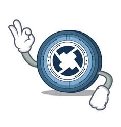 Okay 0x coin character cartoon vector