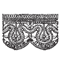 Old point lace border is a form textile art vector
