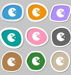 Pac man icon symbols multicolored paper stickers vector