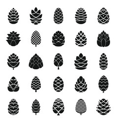 Pine cone icons set simple style vector