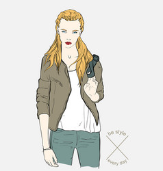 pretty fashion girl in jacket vector image