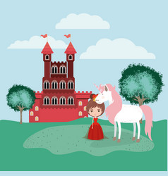 princess with unicorn in the camp and castle vector image