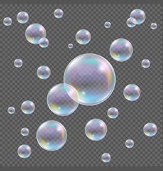 Realistic transparent soap bubbles with vector
