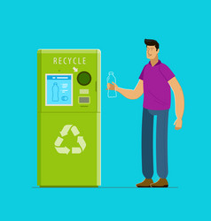 Recycling people put bottles in vending machine vector