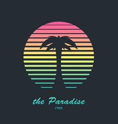retro design emblem palm vector image