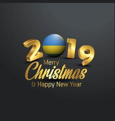 Rwanda flag 2019 merry christmas typography new vector