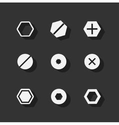 Screw bolt flat icons vector image