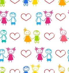Seamless Romantic Wallpaper with Couple vector image vector image