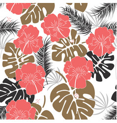 seamless tropical pattern with monstera leaves vector image