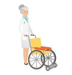 senior caucasian doctor pushing wheelchair vector image