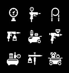 Set icons of compressor and accessories vector image