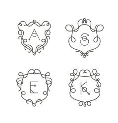 Set of monogram design templates Elegant outline vector image
