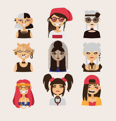 Set with female subcultural characters vector