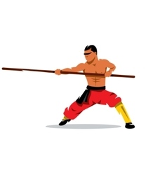 Shaolin monk with his staff Cartoon vector