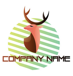 simple logo a deer head on a green and white vector image