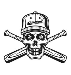 skull baseball player in cap and two bats vector image