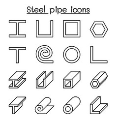 Steel pipe icons set in thin line style vector