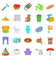 summer comfort icons set cartoon style vector image