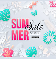 summer sale banner with paper cut tropical palm vector image
