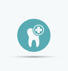 tooth and cross isolated round icon vector image