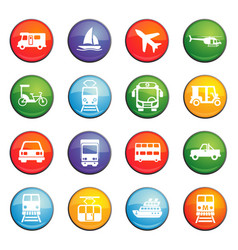 transport icon set vector image