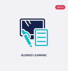 Two color blended learning icon from e-learning vector
