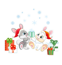 Two cute rabbits in a christmas hats with gifts vector