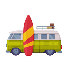 van and surfboard as travel and tourism symbol vector image