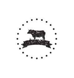 vintage black cow logo icon design template vector image