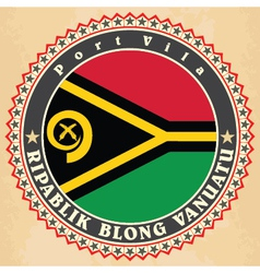 Vintage label cards of Vanuatu flag vector image