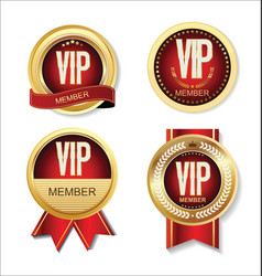 Vip member gold and red badge collection vector