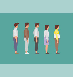 waiting women and men standing in line vector image
