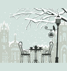 Winter cityscape with street cafe lantern bird vector