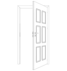 wire-frame opened door vector image
