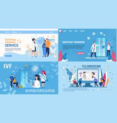 woman fertilization telemedicine landing page set vector image