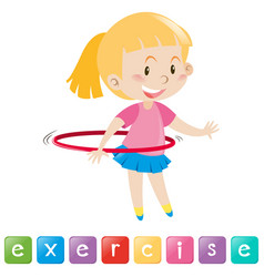 Wordcard with girl exercising vector