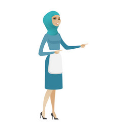 young muslim cleaner pointing to the side vector image