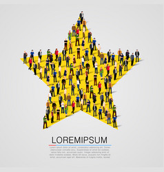 big group of people standing in a star sign vector image