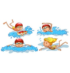 Coloured sketches of people swimming vector image vector image