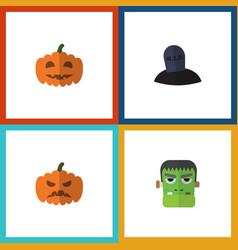 flat icon halloween set of tomb gourd pumpkin vector image vector image