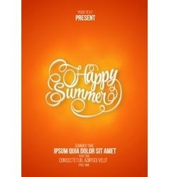 Happy summer flyer or poster orange background vector image