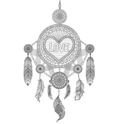 hearted shape dream catcher vector image vector image