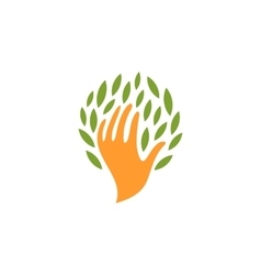 Isolated abstract human hand with leaves logo vector image